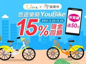 悠遊付借YouBike 15%回饋!學生乘車享20%零用金! 台北市民月票加購共享機車最低 59 元 200 分鐘!
