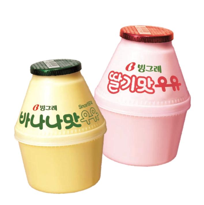 Binggrae 香蕉牛奶+草莓牛奶組