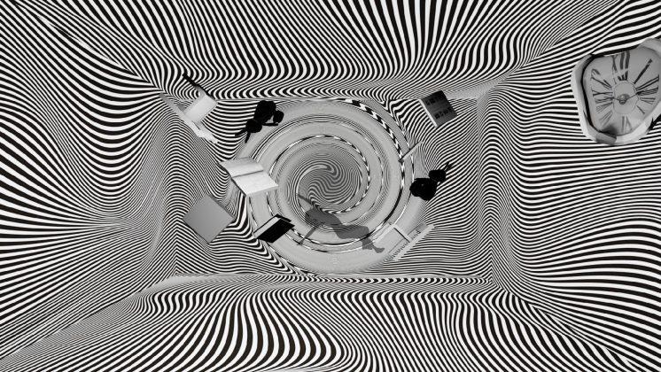 黑白線條扭曲場景