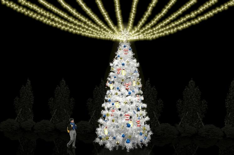幸福白色耶誕樹