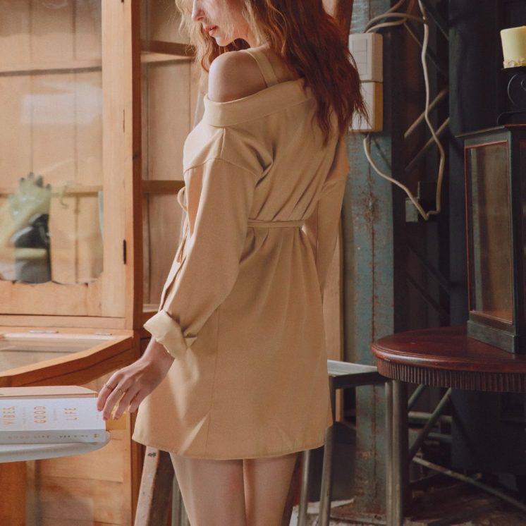 優雅造型感綁帶洋裝