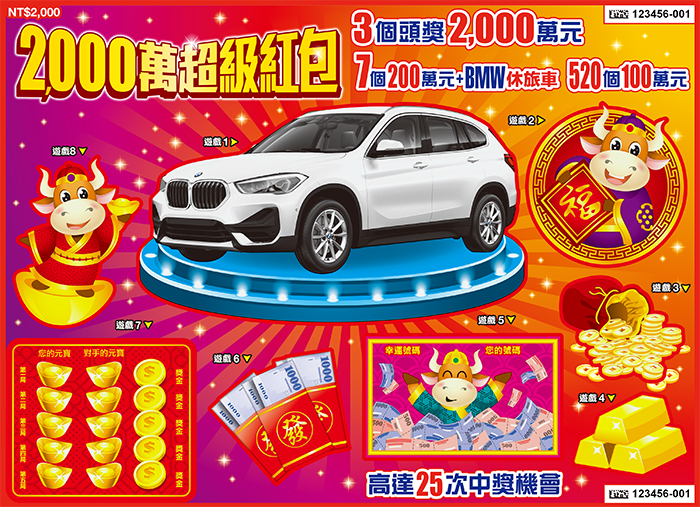 台灣彩券刮刮樂-2000萬超級紅包
