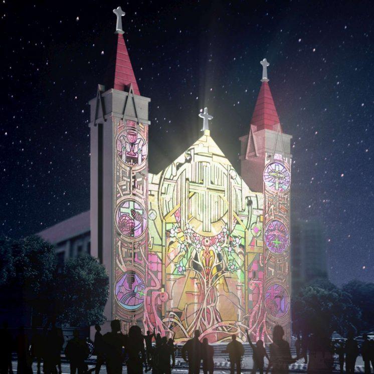 北大教堂光雕投影模擬效果圖