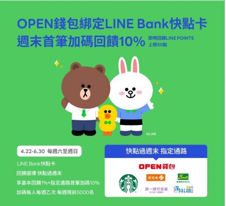 LINE Bank 快點過週末回饋優惠