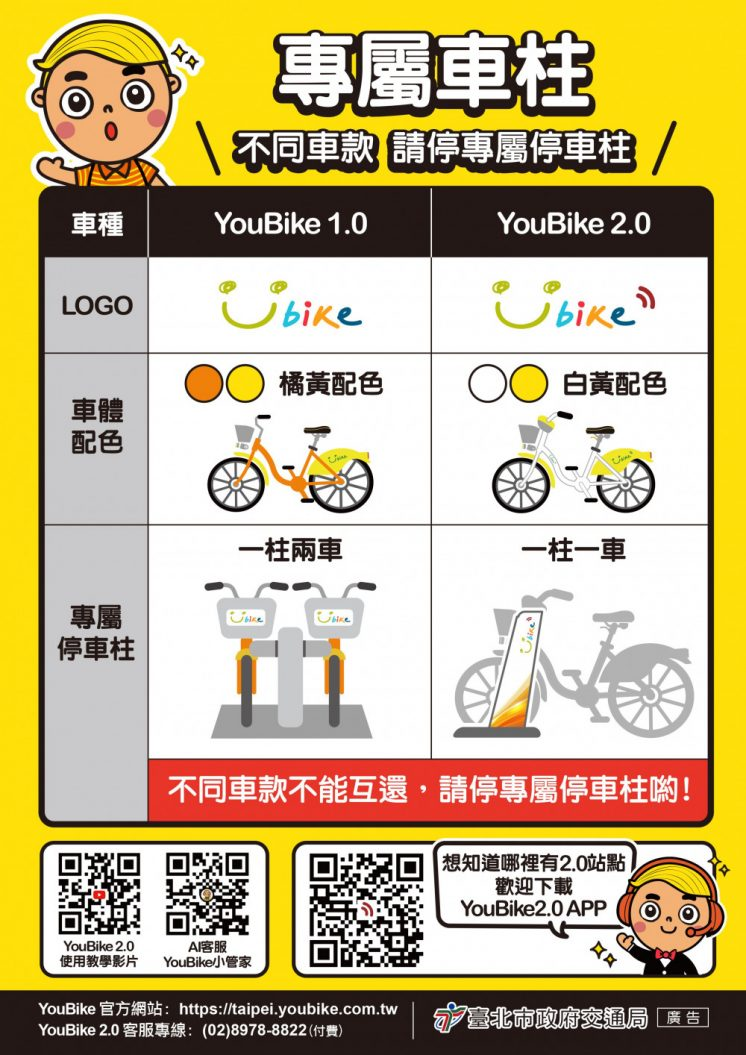 YouBike2.0及YouBike1.0差別]