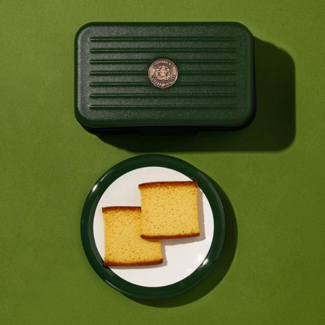 星巴克蜂蜜蛋糕脆餅橄欖綠收納包
