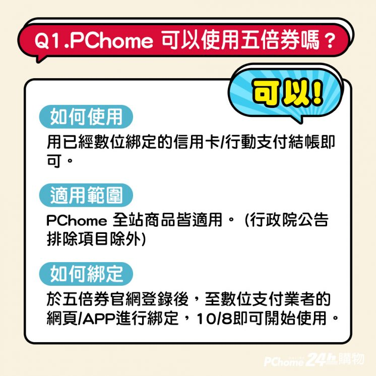 PChome五倍券使用